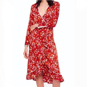 Free People Floral Ruffled Wrap Dress